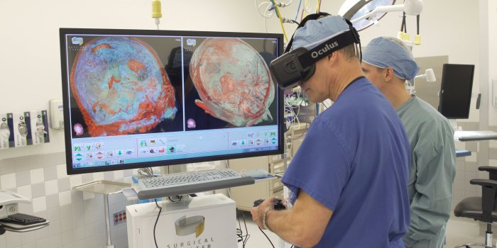 This is a photo of doctors using VR in healthcare.